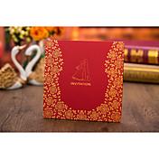 トップ折り 結婚式の招待状-招待状カード ビンテージ モノグラム フローラル 新郎新婦模様 カード用紙 コートボール紙 花 捺染