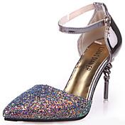 Mujer Zapatos PU Verano Confort Sandalias Paseo Tacón Stiletto Dedo Puntiagudo Hebilla Blanco / Negro / Azul