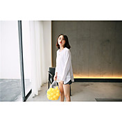 Mujer Simple Casual/Diario Camiseta,Escote Redondo Un Color Retazos Manga Larga Algodón