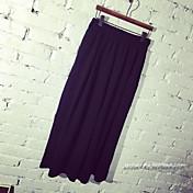 Mujer Sencillo Chic de Calle Tiro Alto Eslático Chinos Pantalones,Perneras anchas Un Color