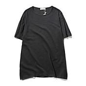 メンズ カジュアル/普段着 夏 Tシャツ,シンプル ラウンドネック ソリッド 竹繊維 半袖 薄手