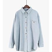 レディース カジュアル/普段着 春 シャツ,シンプル ラウンドネック ソリッド コットン 長袖 薄手
