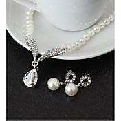 ジュエリーセット ラインストーン 人造真珠 ラインストーン 合金 ドロップ 1×ネックレス 1×イヤリング(ペア) のために 結婚式 パーティー 誕生日 1セット ウェディングギフト