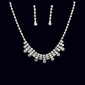 ジュエリーセット ラインストーン 高級ジュエリー ラインストーン 合金 ドロップ 1×ネックレス 1×イヤリング(ペア) のために 結婚式 パーティー 誕生日 1セット ウェディングギフト