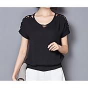 レディース カジュアル/普段着 Tシャツ,シンプル ラウンドネック ソリッド その他 半袖