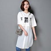 レディース カジュアル/普段着 Tシャツ,ヴィンテージ ラウンドネック プリント コットン 半袖