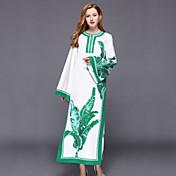 Mujer Kaftan Vestido Casual/Diario Tejido Oriental,Estampado Escote Redondo Maxi Manga Larga Algodón Poliéster Primavera Tiro Alto Rígido