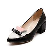 女性用 靴 レザーレット PUレザー 春 夏 コンフォートシューズ アイデア ヒール ウォーキング チャンキーヒール ポインテッドトゥ リボン のために ドレスシューズ パーティー ブラック ピンク