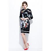 Mujer Línea A Vestido Noche Casual/Diario Bonito,Estampado Escote Redondo Sobre la rodilla Manga Larga Seda Algodón Primavera VeranoTiro