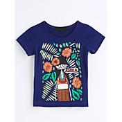 女の子 ジオメトリック プリント コットン Tシャツ 夏 半袖