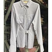 レディース カジュアル/普段着 春 夏 シャツ,シンプル スタンド ストライプ コットン 長袖 薄手