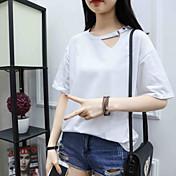 Mujer Casual Diario Camiseta,Escote Redondo Un Color Manga Corta Algodón