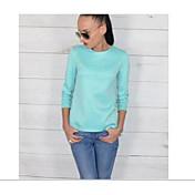 Mujer Chic de Calle Sofisticado Casual/Diario Camisa,Escote Redondo Un Color Manga Larga Algodón Rayón