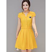 Mujer Línea A Vestido NocheUn Color Escote Redondo Sobre la rodilla Manga Corta Algodón Verano Tiro Medio Rígido Fino