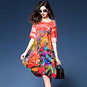 レディース ストリートファッション お出かけ ルーズ シフト ドレス,プリント Vネック 膝丈 半袖 シルク ポリエステル 夏 ミッドライズ マイクロエラスティック ミディアム