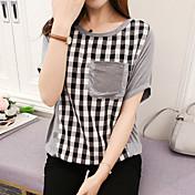 Mujer Simple Casual/Diario Verano Otoño Camiseta,Escote Redondo Cuadrícula Manga Corta Algodón Fino