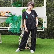 女性の夏の半袖パジャマセットストライプサボテンのパターン居心地の良い寝間着