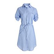 レディース お出かけ シャツ ドレス,ストライプ シャツカラー 膝丈 半袖 コットン 春 夏 ミッドライズ 伸縮性なし 薄手