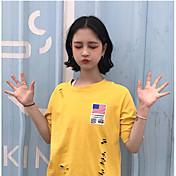 レディース カジュアル/普段着 Tシャツ,キュート ラウンドネック ソリッド コットン 半袖
