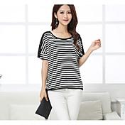 レディース カジュアル/普段着 Tシャツ,シンプル ラウンドネック ストライプ コットン 半袖 薄手