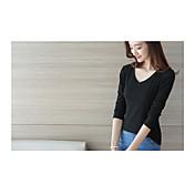 レディース カジュアル/普段着 Tシャツ,シンプル Vネック ソリッド コットン 長袖