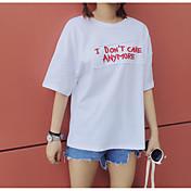 レディース カジュアル/普段着 夏 Tシャツ,キュート ラウンドネック レタード コットン 半袖