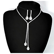 ジュエリーセット ラインストーン 愛らしいです ラインストーン 合金 ドロップ 1×ネックレス 1×イヤリング(ペア) のために 結婚式 パーティー 誕生日 1セット ウェディングギフト