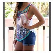 Mujer Simple Casual/Diario Camiseta,Escote Redondo A Rayas Estampado Sin Mangas Algodón Fibra de bambú