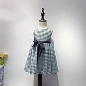 Vestido Chica de A Cuadros Algodón Sin Mangas Verano Cuadro Azul Piscina