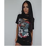 Mujer Boho Chic de Calle Sofisticado Noche Casual/Diario Verano Camiseta,Halter Letra Manga Corta Algodón