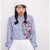 レディース カジュアル/普段着 Tシャツ,シンプル スタンド ソリッド ストライプ コットン 長袖