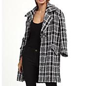 レディース カジュアル/普段着 春 コート,シンプル シャツカラー 幾何学模様 ロング ウール 長袖