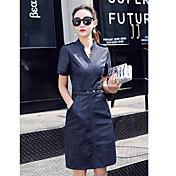 Mujer Línea A Vestido Casual/Diario Un Color Escote Redondo Hasta la Rodilla Manga Corta Algodón Verano Tiro Medio Microelástico Medio