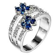 女性用 指輪石座 バンドリング 指輪 キュービックジルコニア ラインストーンベーシック ユニーク あり かわいいスタイル 欧米の 映画ジュエリー 高級ジュエリー シンプルなスタイル アメリカ ブリティッシュ クラシック Elegant フラワー 耐久 ファッション