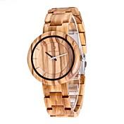 Hombre Reloj Madera Japonés Cuarzo de madera Madera Banda Lujo Elegant Color Beige