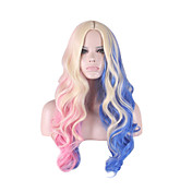 女性 人工毛ウィッグ キャップレス ロング丈 カーリー ブルー コスプレ用ウィッグ コスチュームウィッグ