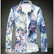 メンズ カジュアル/普段着 春 秋 シャツ,シンプル レギュラーカラー プリント コットン 長袖
