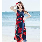 レディース Tシャツ ドレス,フラワー Vネック マキシ ノースリーブ ポリエステル 夏 ミッドライズ 伸縮性なし 薄手