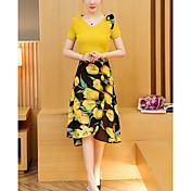 レディース 日常 カジュアル 夏 Tシャツ(21) ドレス スーツ,カジュアル ラウンドネック フラワー カラーブロック 半袖 マイクロエラスティック
