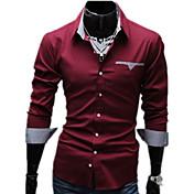 Camisa De los hombres Un Color Casual / Trabajo / Formal-Algodón / Mezcla de Algodón-Manga Larga-Negro / Rojo / Blanco