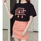 レディース 日常 カジュアル 夏 Tシャツ(21) スカート スーツ,カジュアル ラウンドネック カラーブロック メッセージ 半袖 マイクロエラスティック