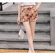 Mujer Bonito Tiro Medio Microelástico Corte Recto Shorts Pantalones,Floral Mezcla de Algodón Verano