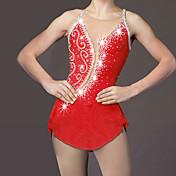 Vestido de patinaje artístico Mujer Chica Patinaje Sobre Hielo Vestidos Rojo Pedrería Alta elasticidad Rendimiento Ropa de Patinaje Hecho