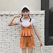 レディース お出かけ 夏 Tシャツ(21) パンツ スーツ,シンプル キュート ストラップ ソリッド 半袖 マイクロエラスティック
