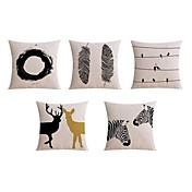 5 PC Lino Funda de almohada Cobertor de Cojín Almohada de cama Almohada de cuerpo Almohada de viaje El amortiguador del sofá,Animal
