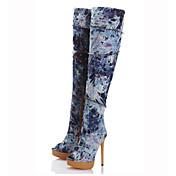 Mujer Botas Gladiador Vaquero Primavera Otoño Casual Vestido Fiesta y Noche Gladiador Cremallera Tacón Stiletto Azul 12 cms y Más