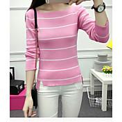 Mujer Regular Pullover Cita Casual/Diario Simple,A Rayas Escote Redondo Manga 3/4 Piel Sintética Primavera Medio Microelástico
