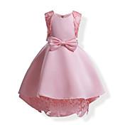 Vestido Chica de Color sólido Encaje Lazo Algodón Sin Mangas Todas las Temporadas Lazo De Encaje Rosa Azul Marino