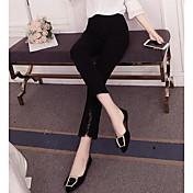 Mujer Alta cintura Delgado Perneras anchas Pantalones - Un Color