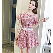 レディース カジュアル/普段着 夏 Tシャツ(21) スカート スーツ,シンプル ストラップ リーフ柄 半袖